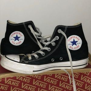black and white all star high top converse
